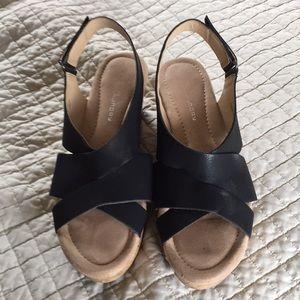 laundry black wedge sandals